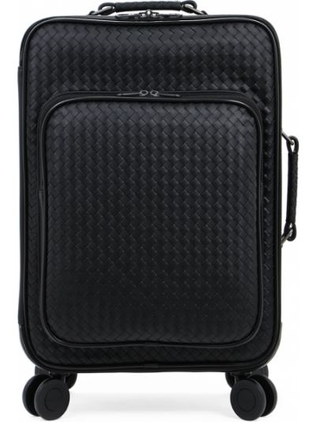 Кожаный черный чемодан на молнии с карманами Bottega Veneta