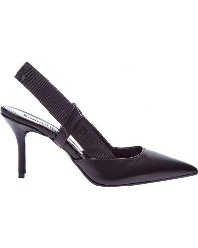 Черные туфли-лодочки матовые с декоративной отделкой из натуральной кожи Karl Lagerfeld