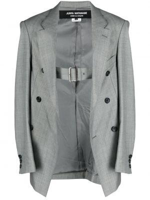 Серый удлиненный пиджак двубортный с карманами Junya Watanabe