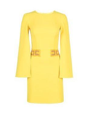 Желтое асимметричное коктейльное платье Elisabetta Franchi