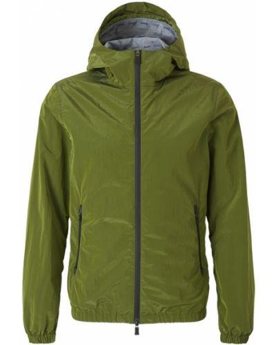 Zielona kurtka z kapturem materiałowa Herno