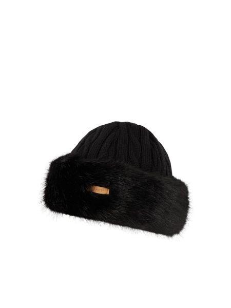 Czarny wełniany czapka bezpłatne cięcie prążkowany Barts