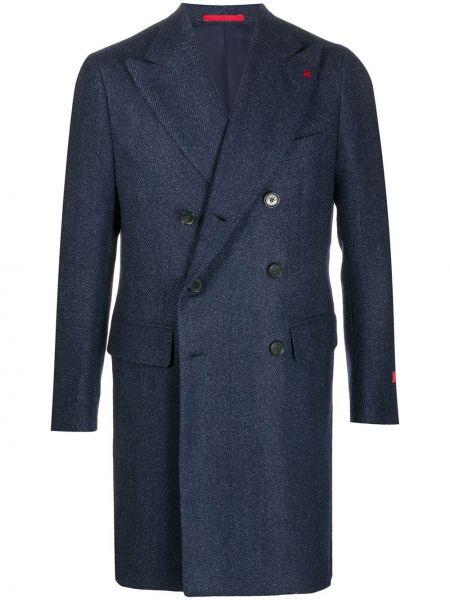 Niebieski płaszcz wełniany z długimi rękawami Isaia