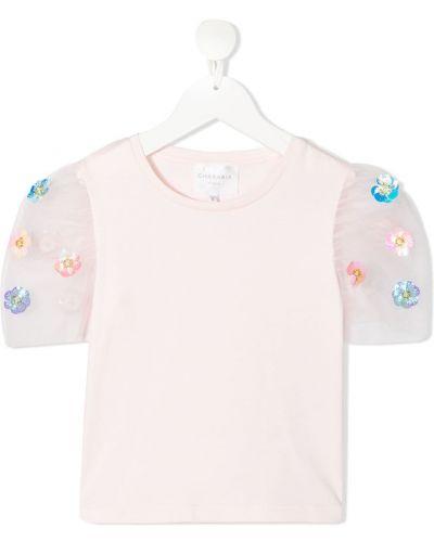 Różowy t-shirt bawełniany z haftem Charabia