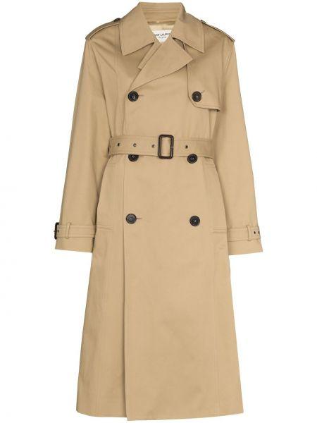 Хлопковое бежевое пальто двубортное Saint Laurent
