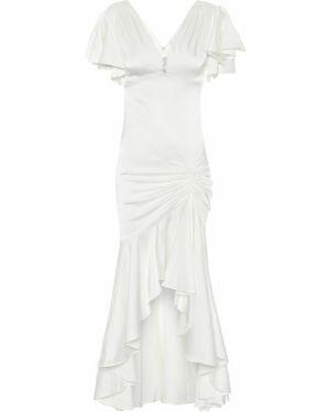 Белое шелковое свадебное платье стрейч Caroline Constas