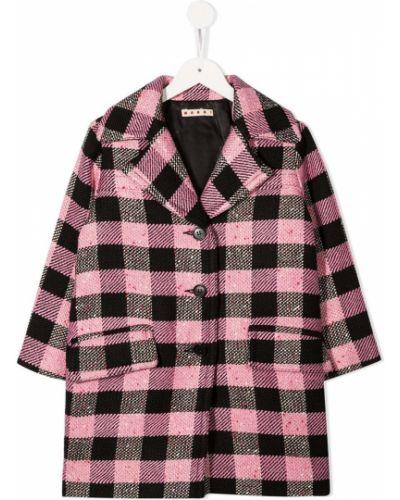 Прямое розовое длинное пальто с воротником из вискозы Marni Kids