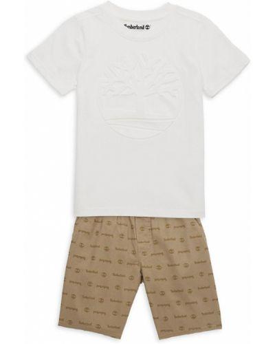 Хлопковая открытая белая футболка Timberland