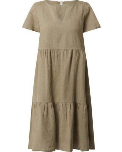 Zielona sukienka midi rozkloszowana z falbanami Edc By Esprit