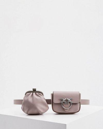 Кожаная поясная сумка - фиолетовая Pinko