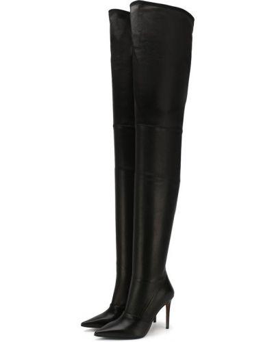 Черные кожаные сапоги Balmain