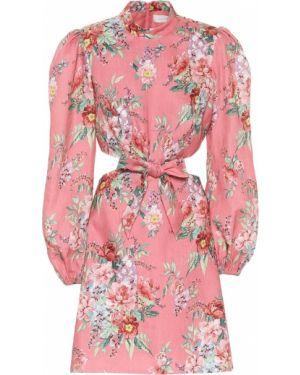 Платье мини льняное с цветочным принтом Zimmermann