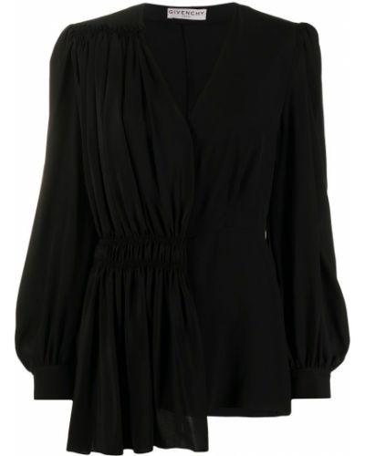 Jedwab czarny asymetryczny bluzka zapinane na guziki Givenchy
