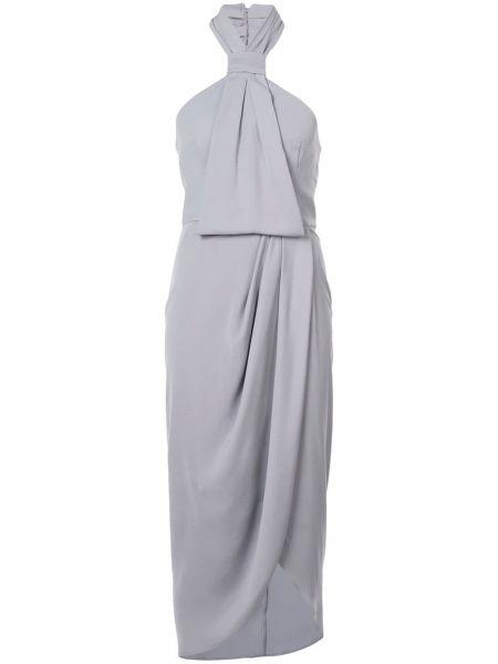 Приталенное серое платье с запахом с драпировкой Shona Joy