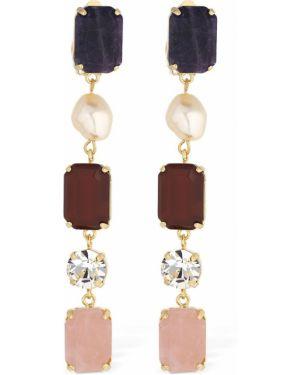 Złote kolczyki sztyfty perły pozłacane Ca&lou