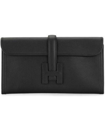 Кожаный черный клатч-конверт Hermes