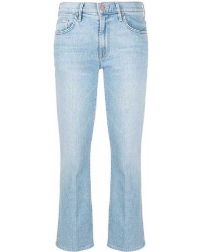 Хлопковые синие укороченные джинсы с карманами Mother