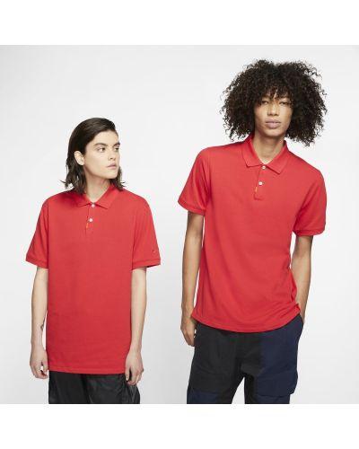 Czerwony t-shirt na co dzień dzianinowy Nike