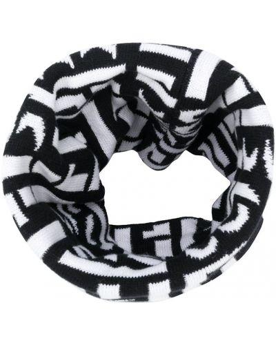Хлопковый черный вязаный шарф Boss Kids
