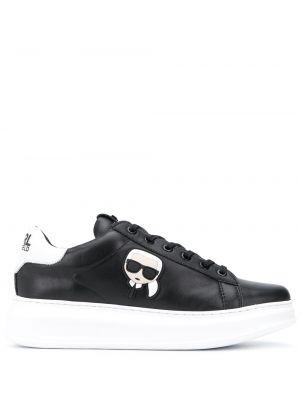 Кожаные кроссовки черные на каблуке Karl Lagerfeld