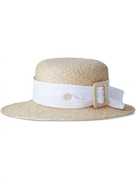 Beżowy kapelusz klamry Maison Michel