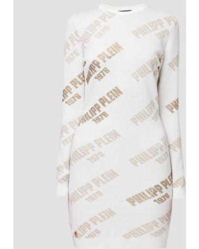 Белое платье мини Philipp Plein