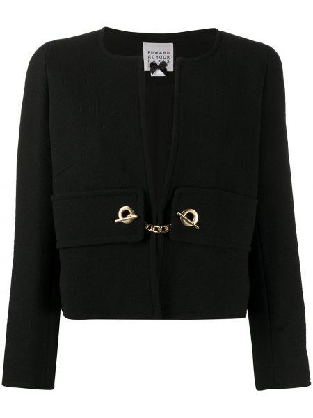 С рукавами шерстяная черная длинная куртка с карманами Edward Achour Paris