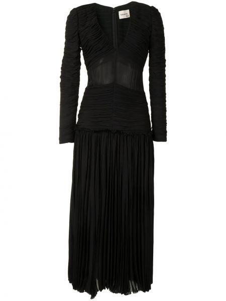 С рукавами черное платье макси с оборками Khaite