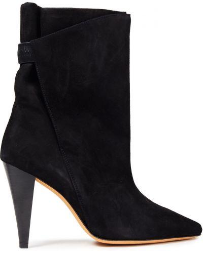 Czarne ankle boots skorzane w szpic Iro