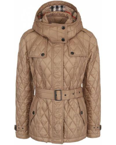 Стеганая куртка с капюшоном с поясом Burberry