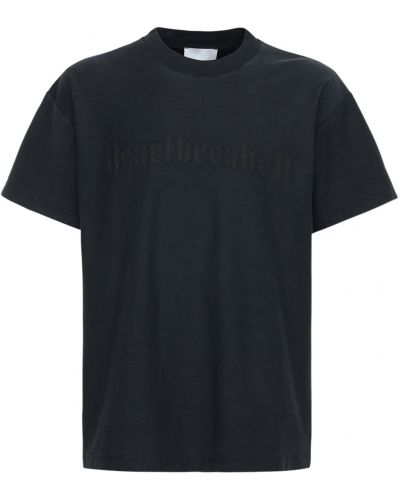 Czarny t-shirt bawełniany z printem Flaneur Homme