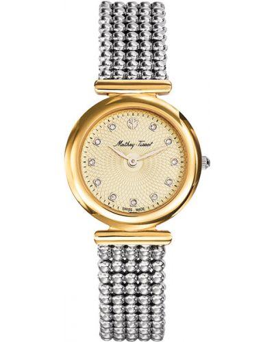 Кварцевые часы водонепроницаемые с камнями Mathey-tissot