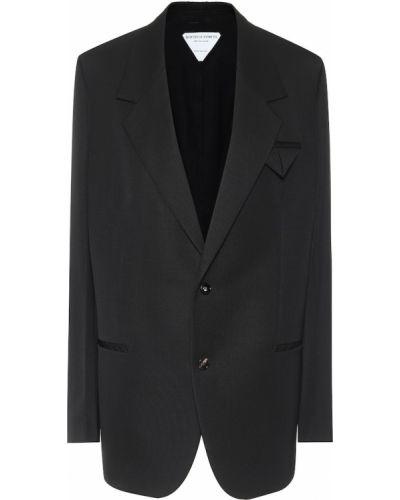 Шерстяной однобортный черный пиджак Bottega Veneta
