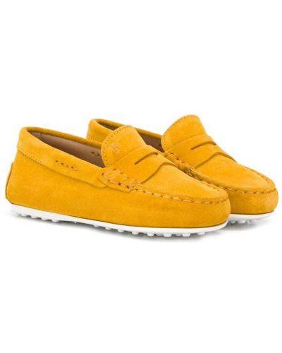 Желтые кожаные мокасины с камнями без застежки Tod's Kids