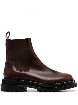 Коричневые кожаные ботинки эластичные Sandro Paris