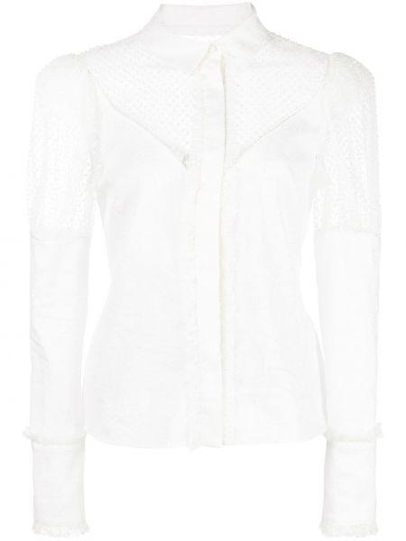 Белая классическая рубашка с воротником прозрачная на пуговицах Alexis