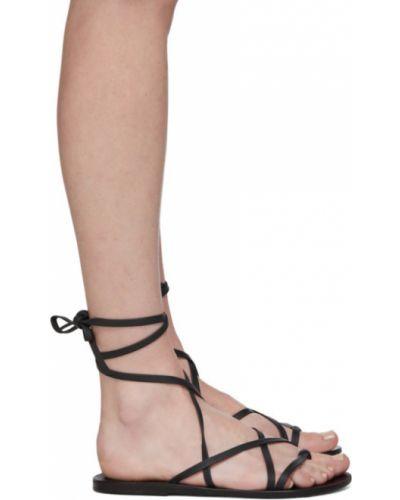 Z paskiem czarny skórzany sandały grecki na pięcie Ancient Greek Sandals