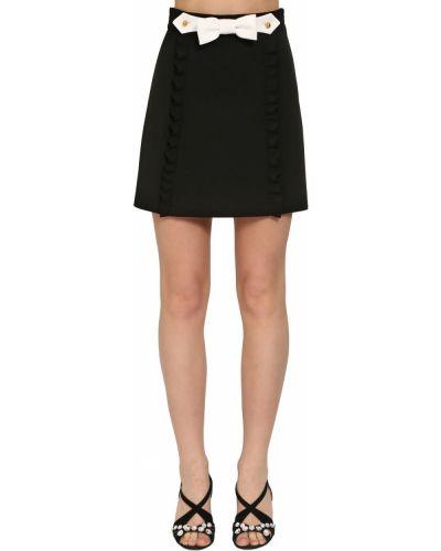 Черная юбка мини с подкладкой на кнопках Miu Miu