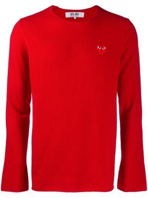 Красный шерстяной свитер с круглым вырезом с аппликациями Comme Des GarÇons Play