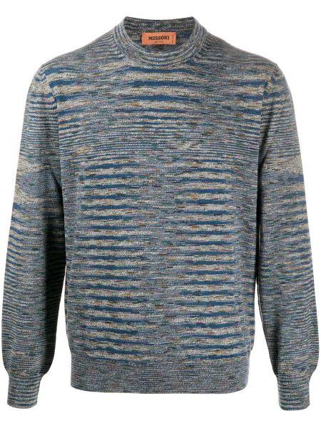 Wełniany niebieski pulower z paskami z długimi rękawami Missoni