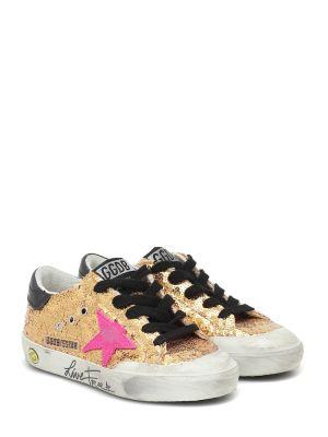 Złoty żółty sneakersy Golden Goose Kids