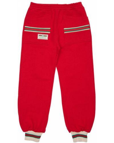 Bawełna joggery z kieszeniami z mankietami z łatami Gucci