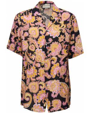 Koszula krótkie z krótkim rękawem na kręgle z kołnierzem Gucci