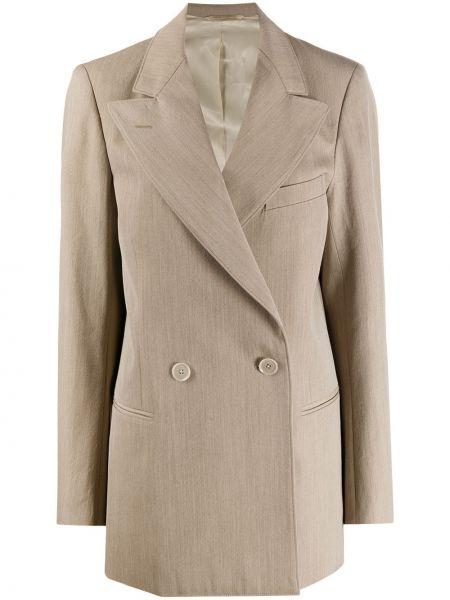 Бежевый удлиненный пиджак двубортный с карманами Lemaire
