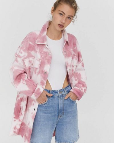 Джинсовая куртка с медведем - розовая Pull&bear