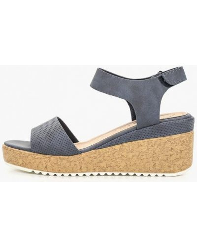 Босоножки на каблуке кожаные синий Betsy