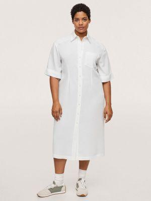 Платье рубашка - белое Violeta By Mango