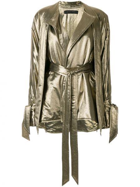 Золотистый шелковый желтый пиджак Roland Mouret