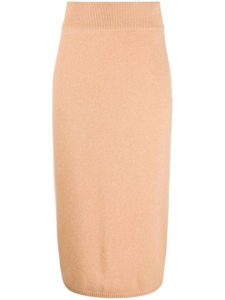 Коричневая с завышенной талией юбка с разрезом в рубчик N.peal