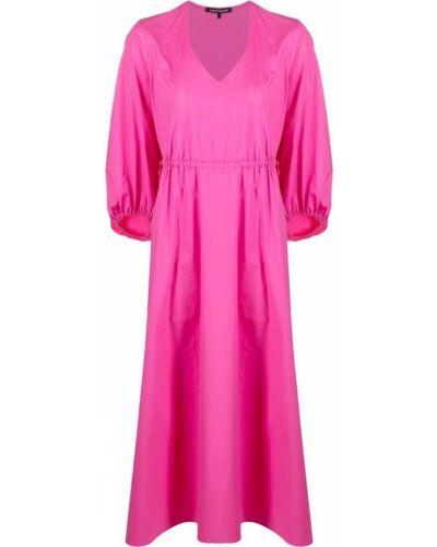 Розовое платье миди с поясом с вырезом Luisa Cerano